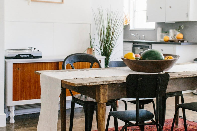 vintage farm table with runner