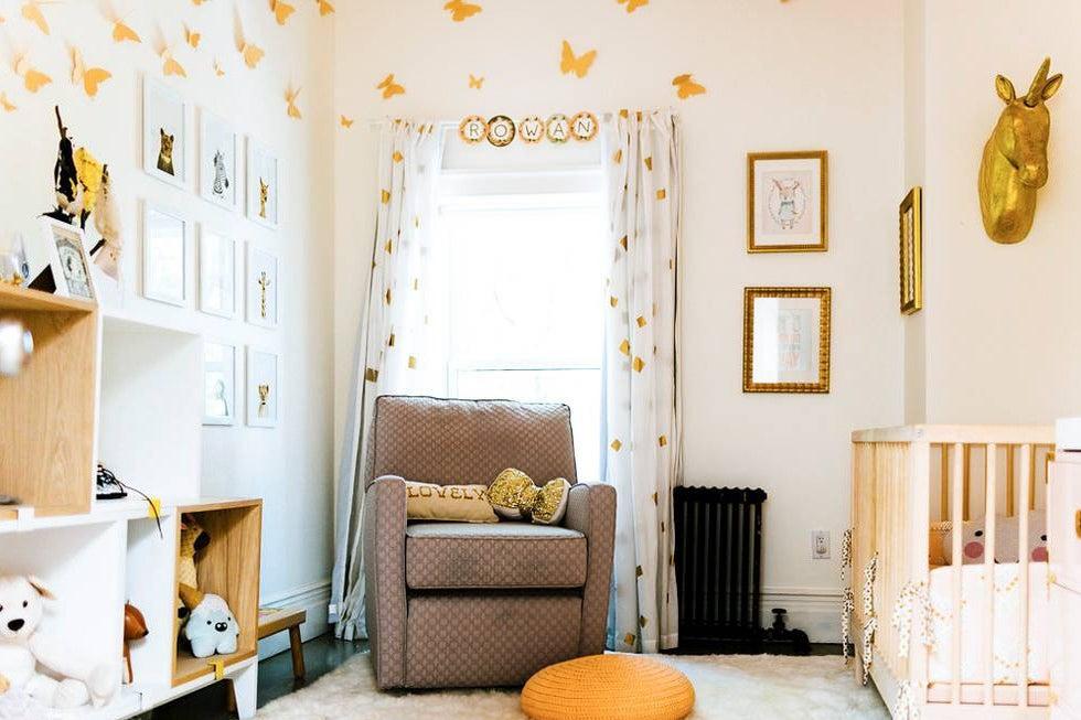 nursery room with butterflies on wall