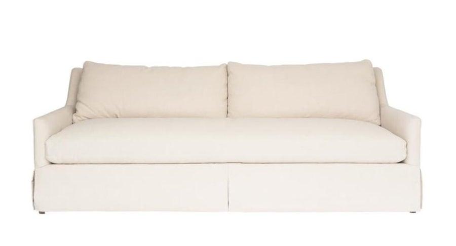 neutral linen sofa