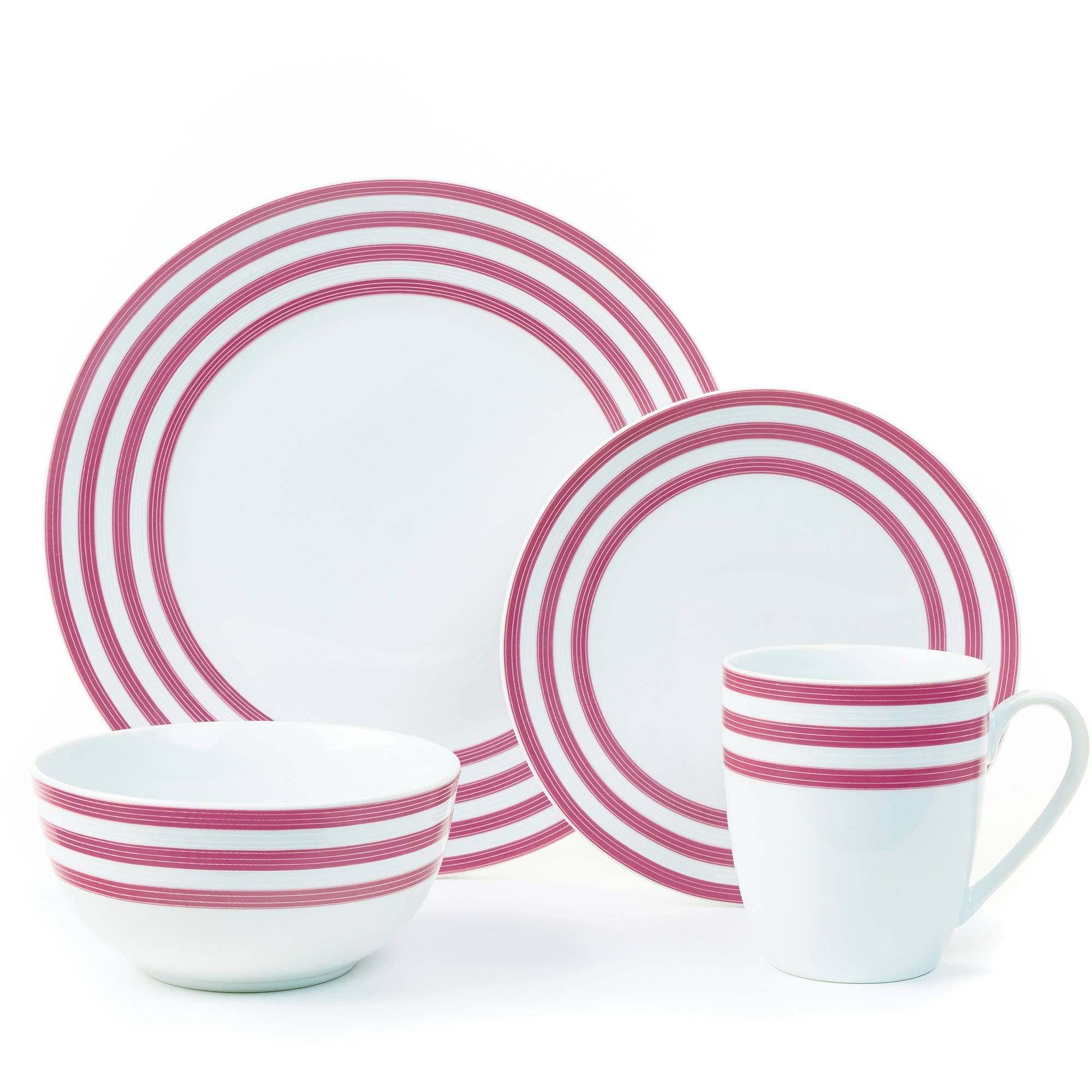 08- red striped porcelain dishes