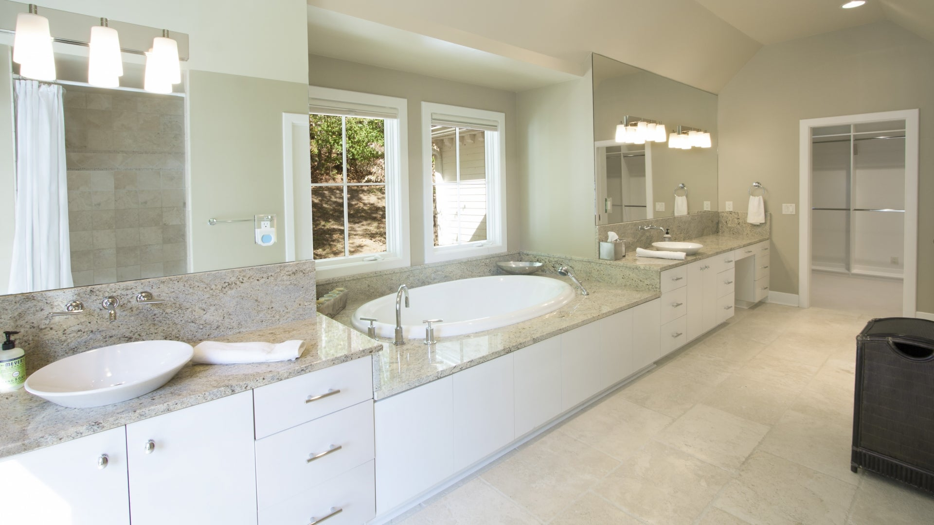 bath with windows