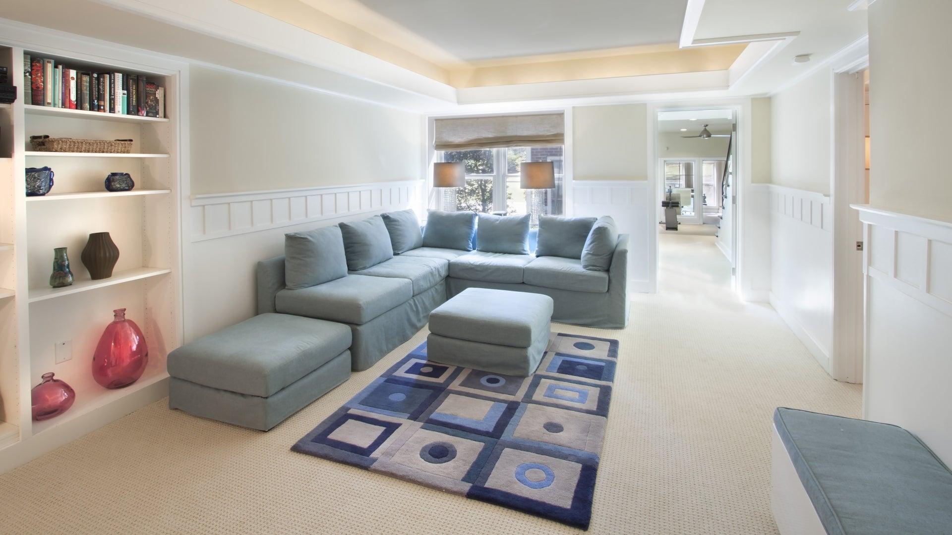 blue living room sofa