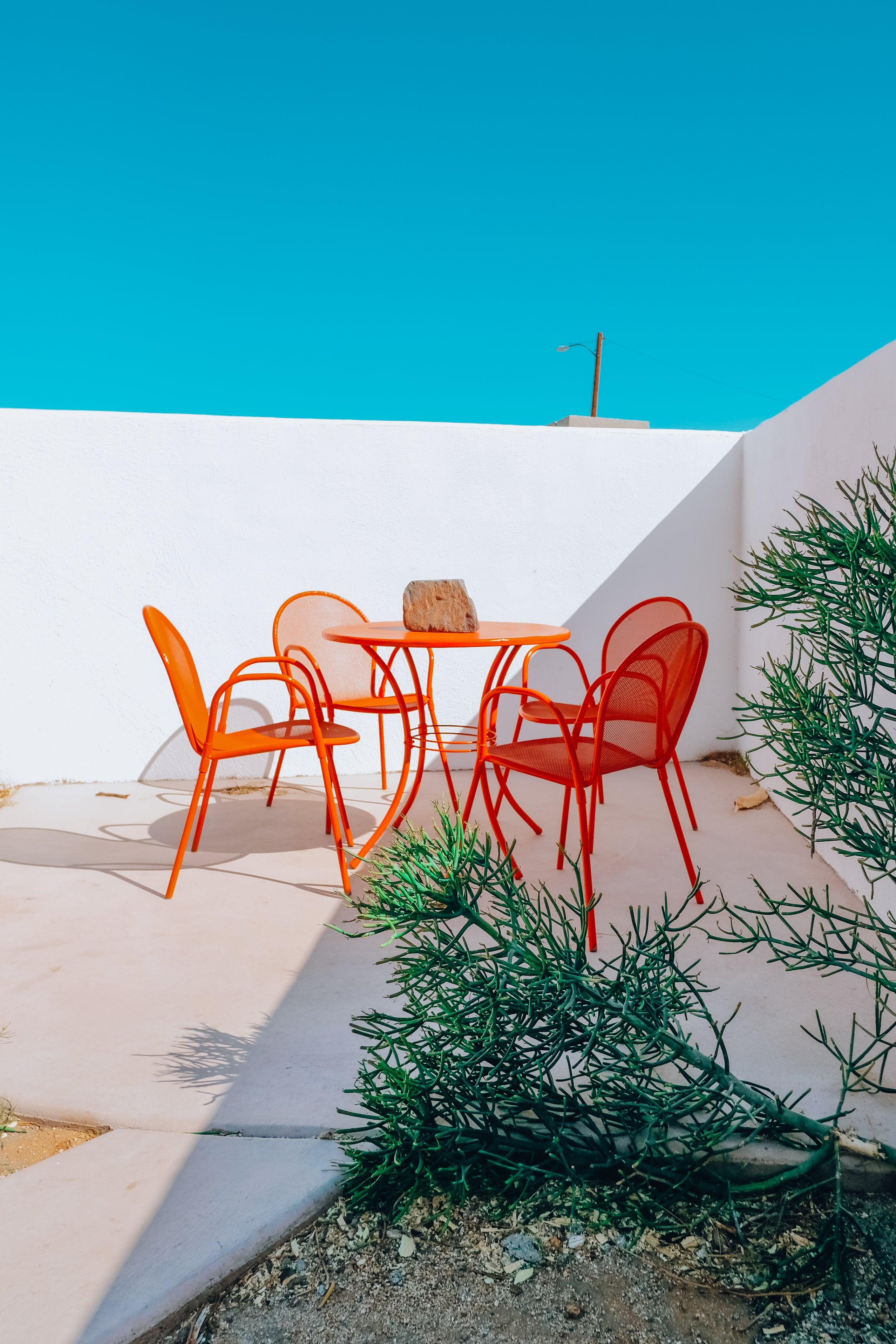 orange dining table