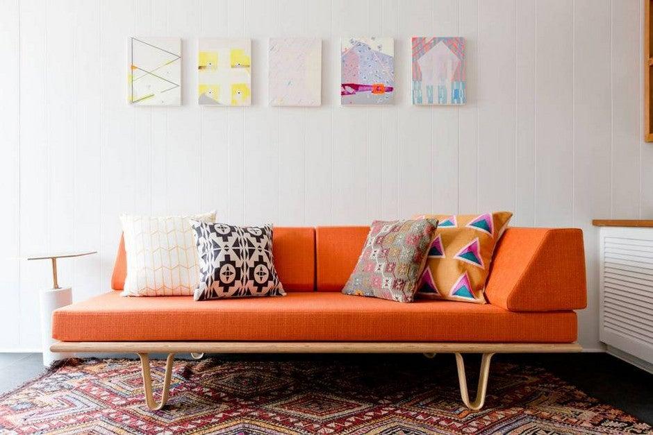 bright orange chaise