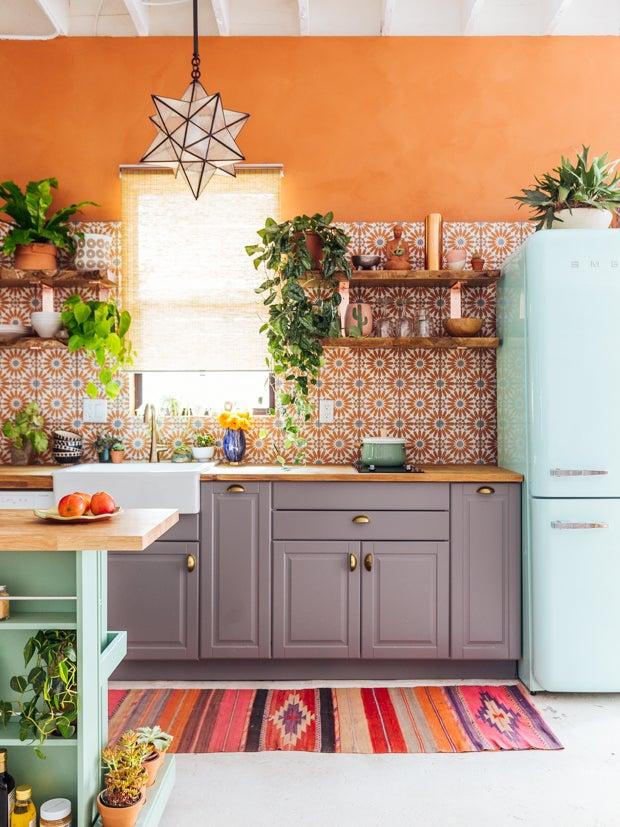orange tile kitchen
