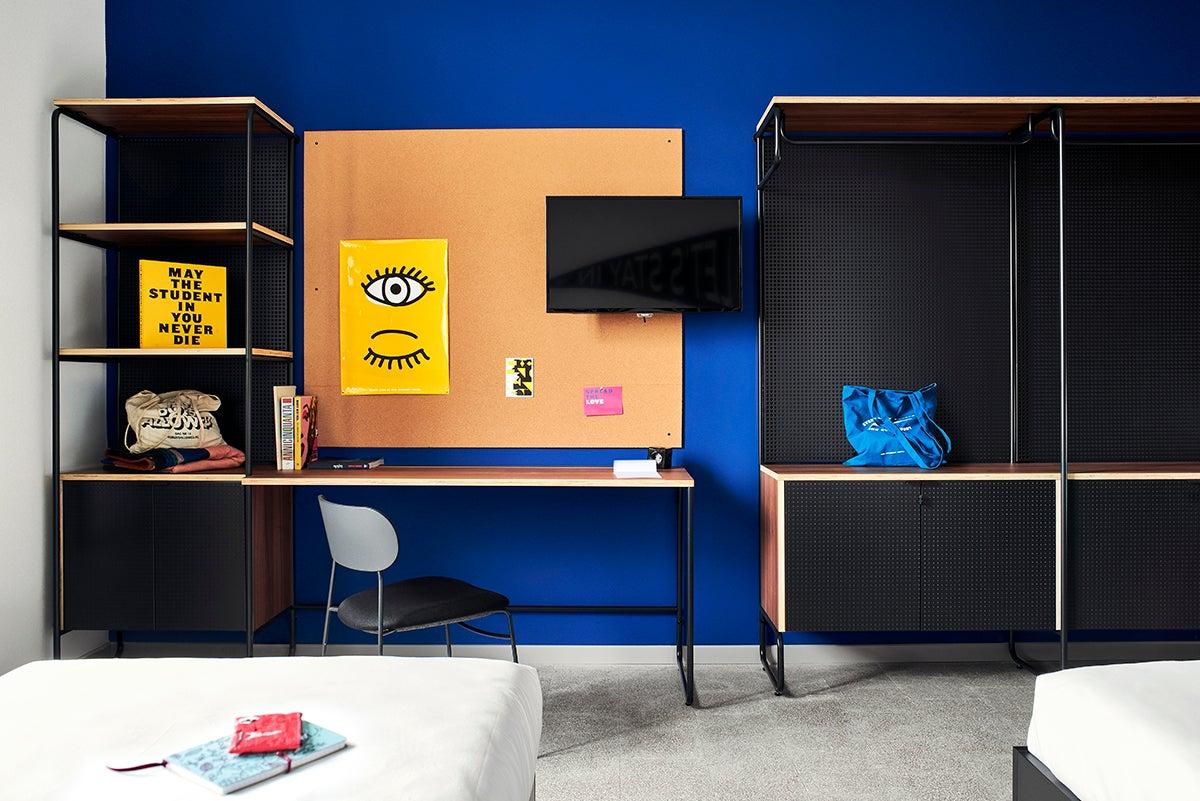 cobalt blue wall