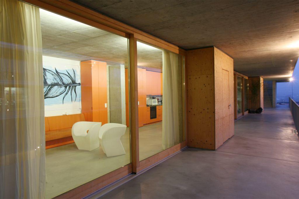 orange and white dorm hall
