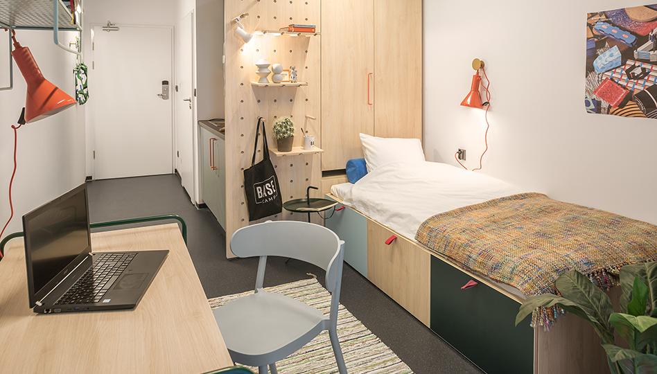 compact dorm room