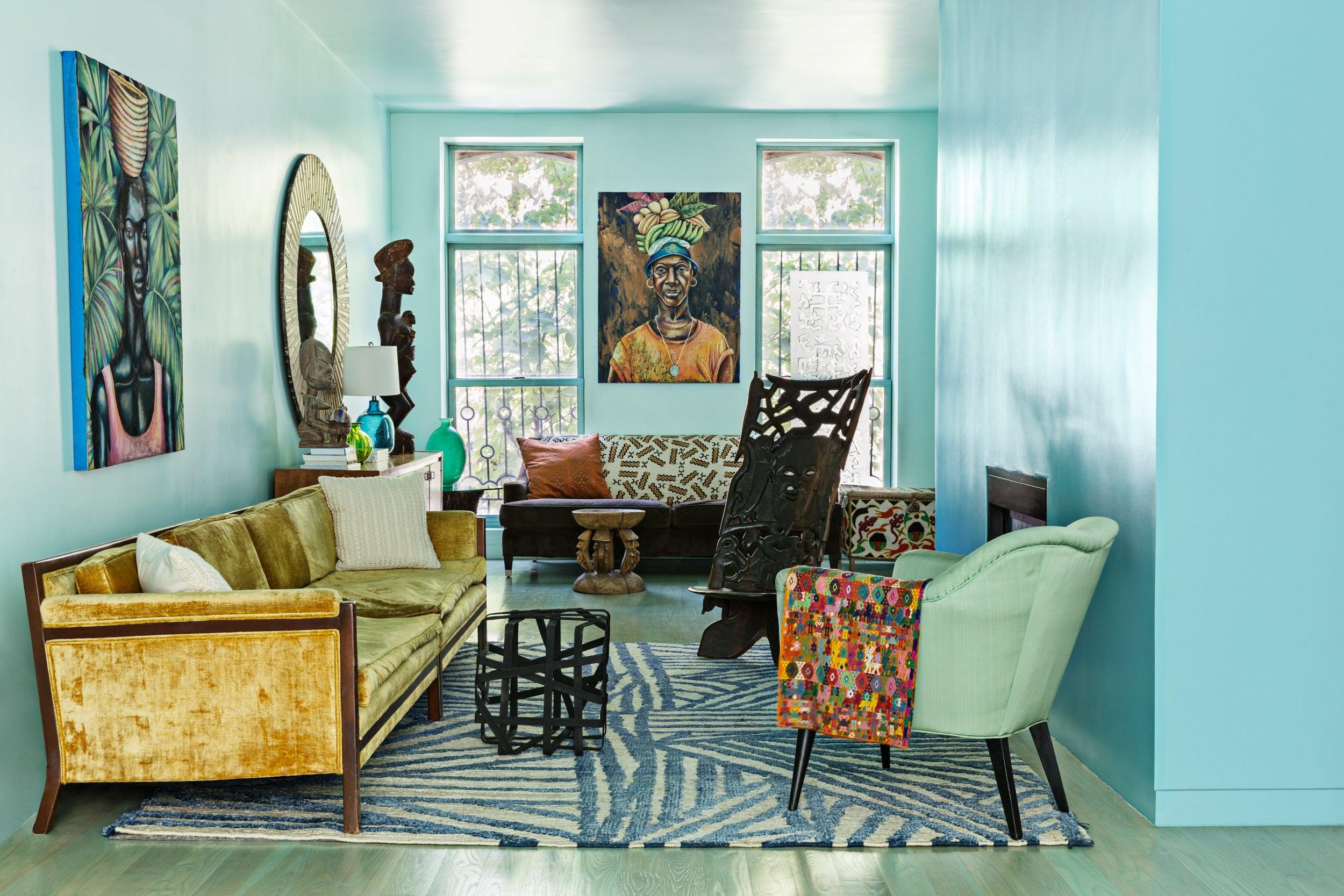 malene b colorful living room brooklyn