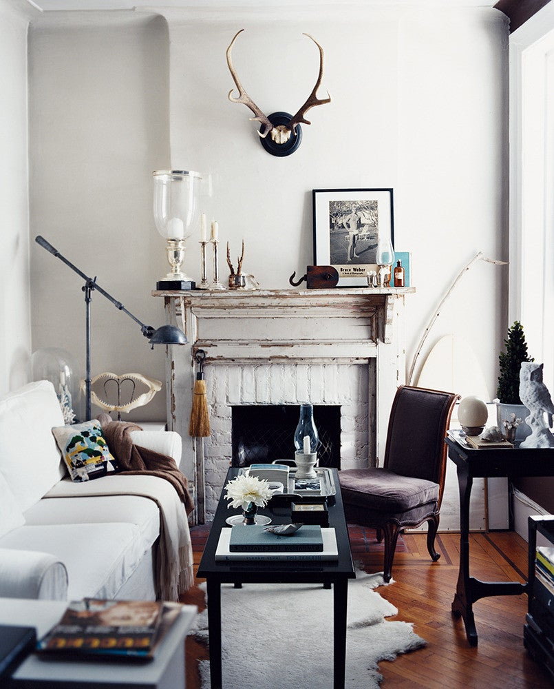 Gray and White and Wood Living room
