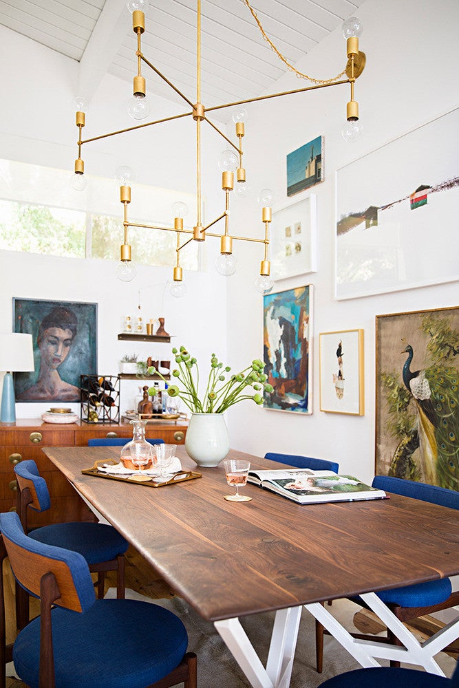Emily Henderson Home Tour White and Wood Dining room