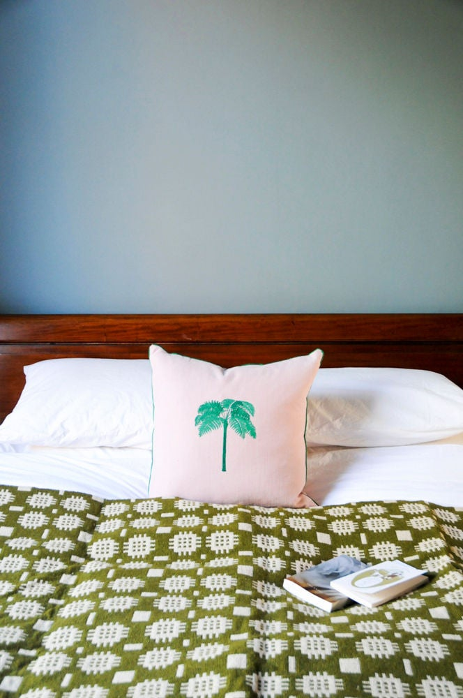 Gray and Green and Pink Bedroom