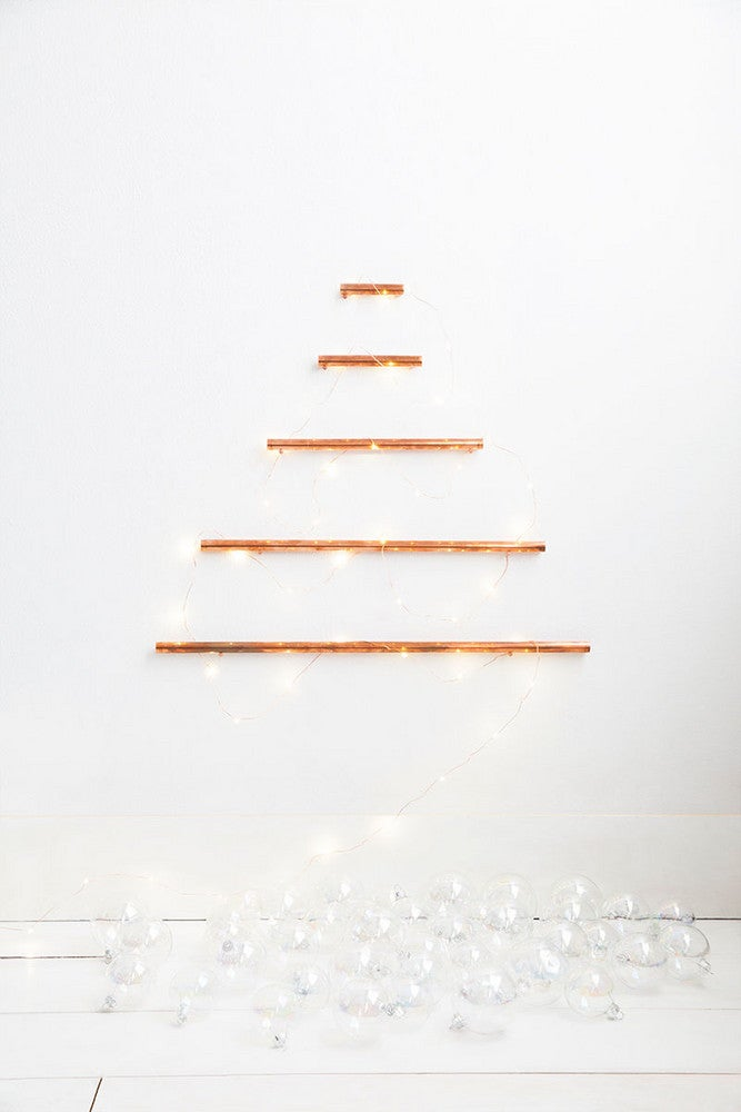 christmas tree alternatives ideas for small spaces copper pipes