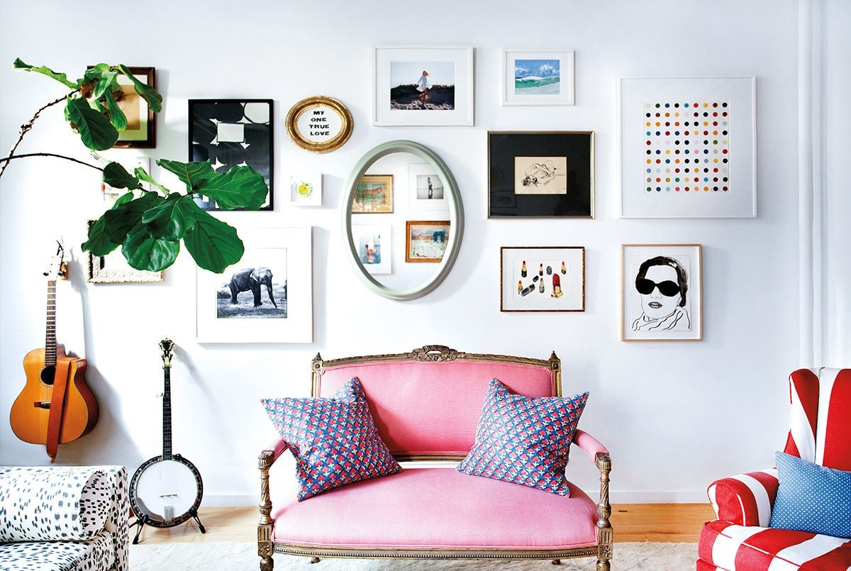 Blue and Brown and Green and Pink and Purple and White and Wood Living room