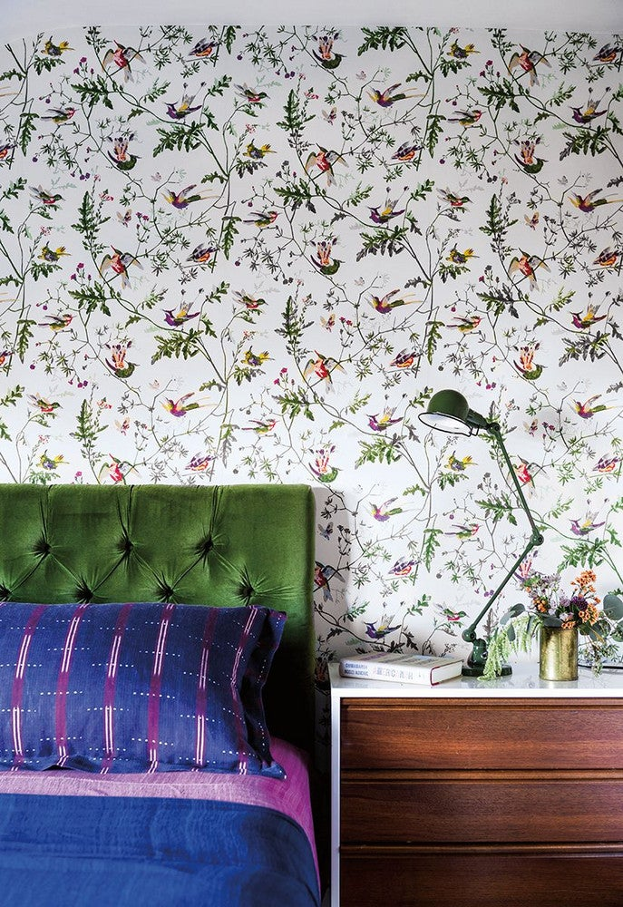 Green and Pink and Purple and White and Wood Bedroom
