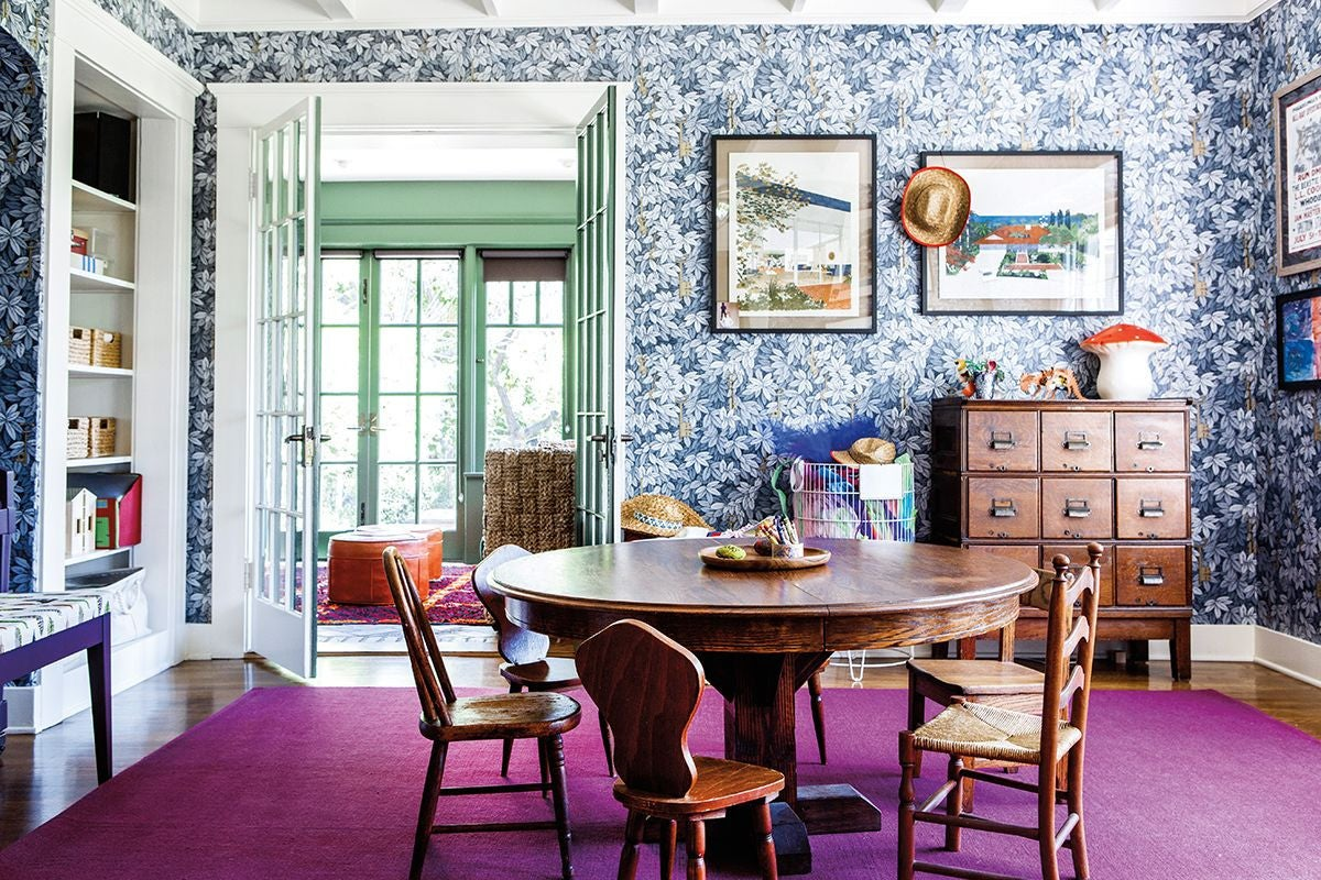 Blue and Green and Purple and White and Wood Playroom