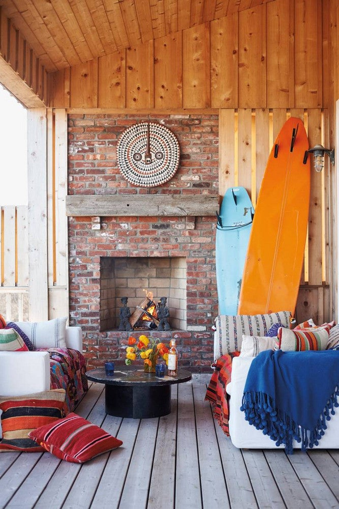 Orange and Red and Wood Living room