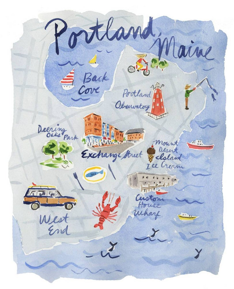 Portland Maine Travel Guide Illustrated Map