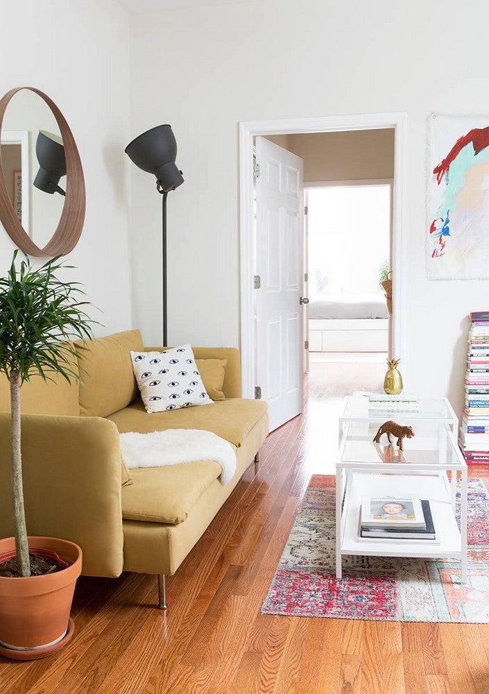 Alyssa Coscarelli's Williamsburg Apartment White and Yellow Living room