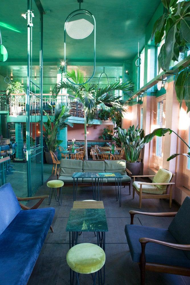 Bar Botanique Amsterdam Blue Sofa Green Walls