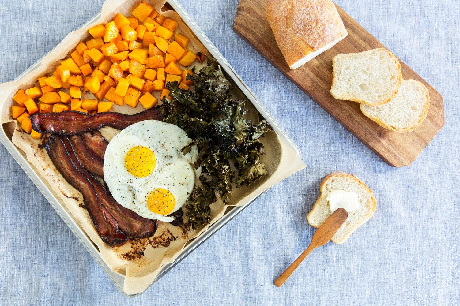 Food sheet pan brunch recipe eggs toast