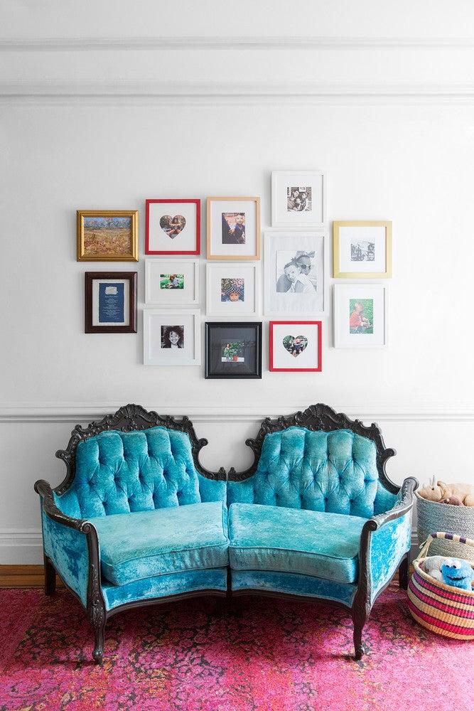 LaTonya Yvette Small Space Home Tour Blue Velvet Sofa Gallery Wall