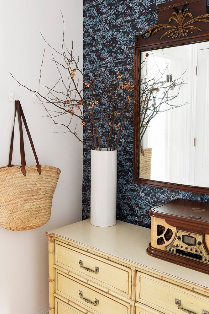 LaTonya Yvette Small Space Home Tour Wallpapered Entryway