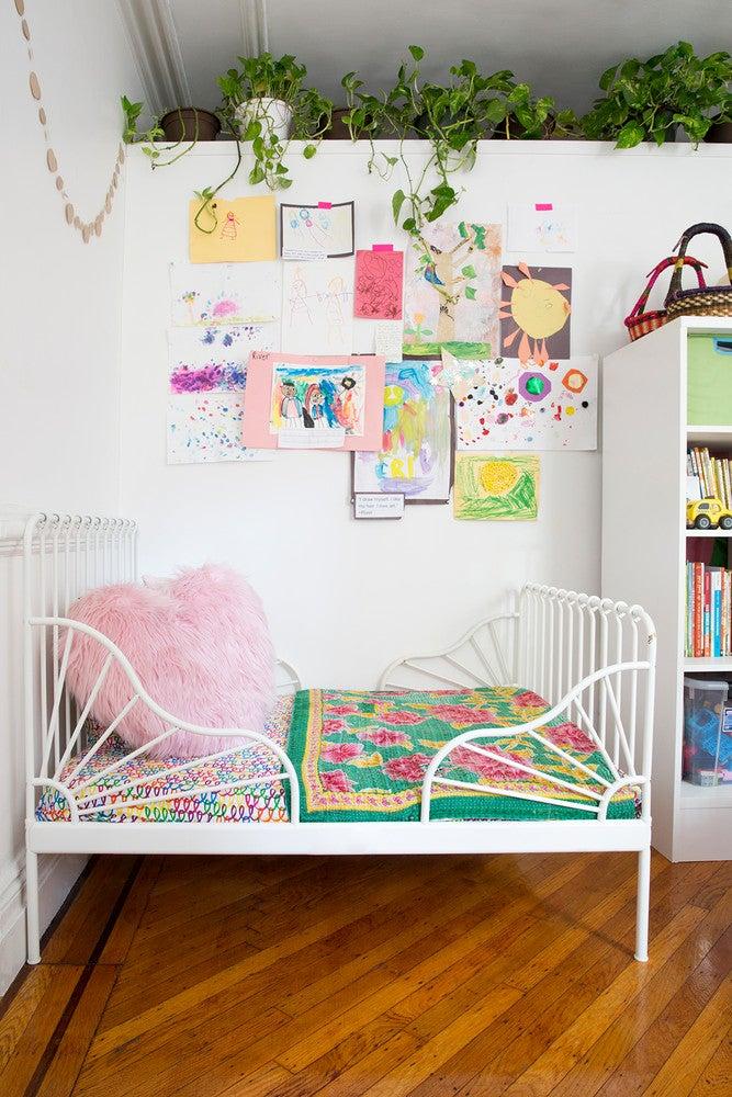 LaTonya Yvette Small Space Home Tour Kids Room White Bed Frame Art Walls