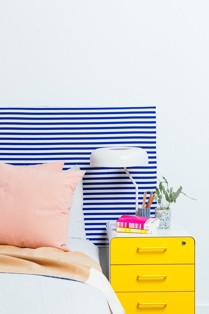 How to Turn an Ikea Table top Into One Hot Headboard