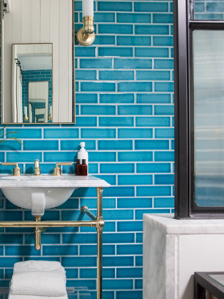 This Hotel Mastered Colorful Subway Tile in the Bathroom