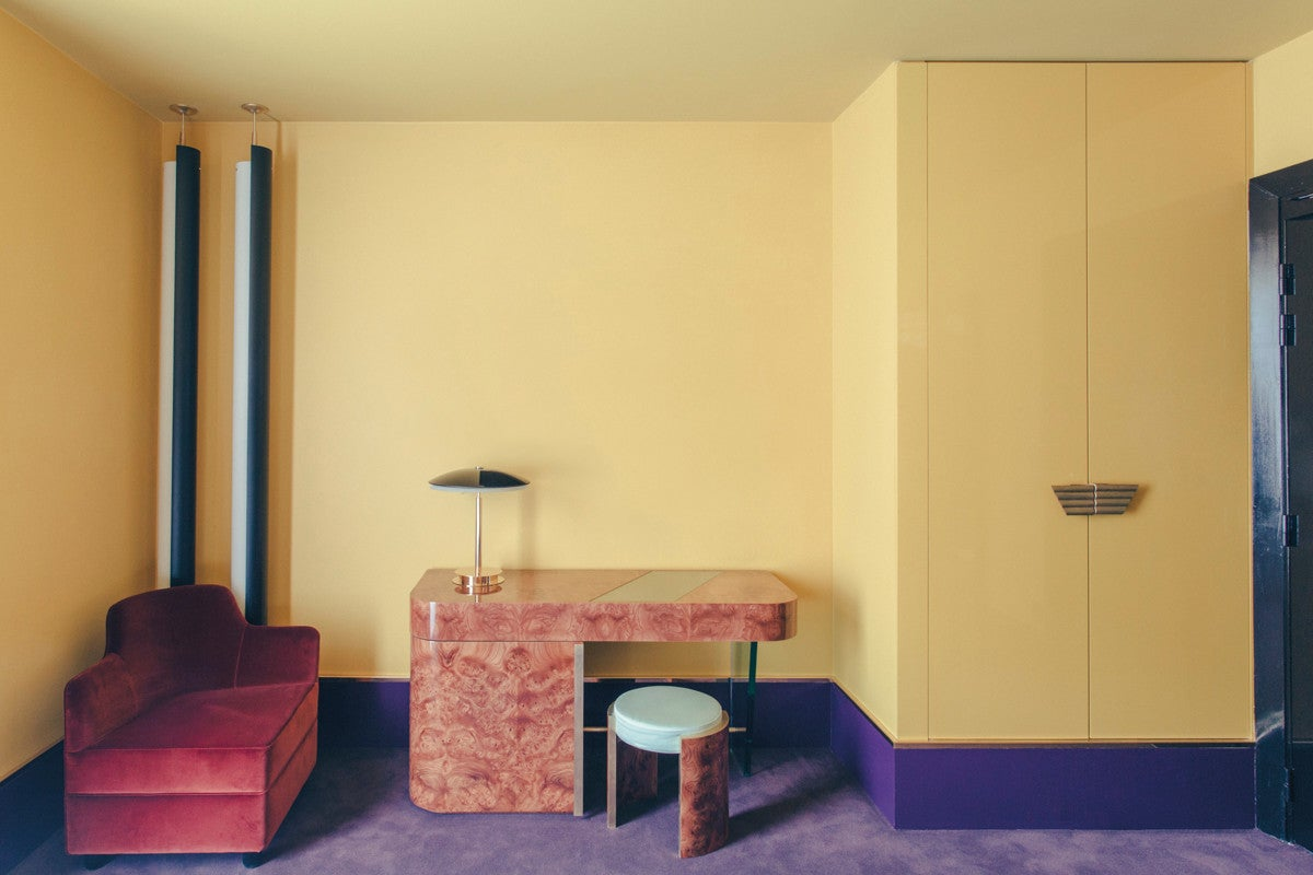 Purple and Red and Yellow Living room