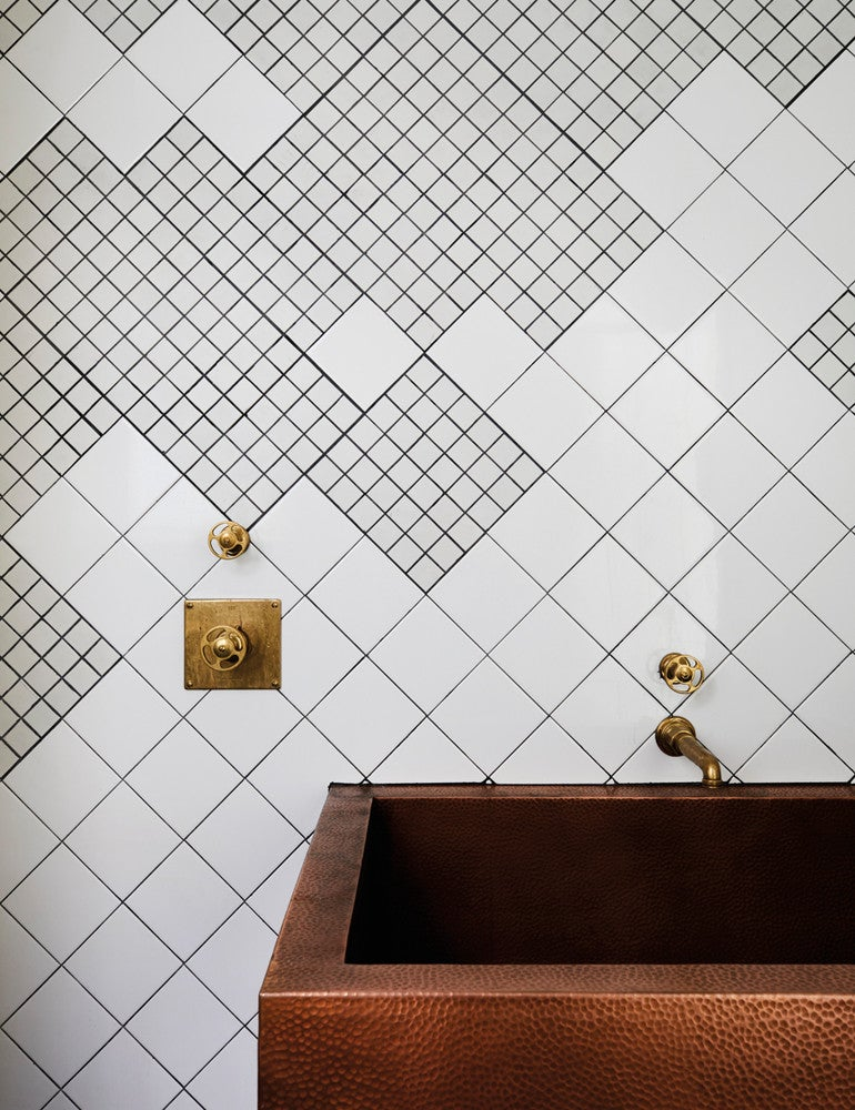 Bronze and Brown and White Bathroom