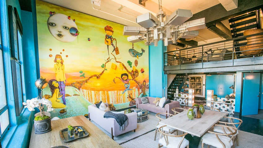 Turquoise Wall LA Penthouse Living Room