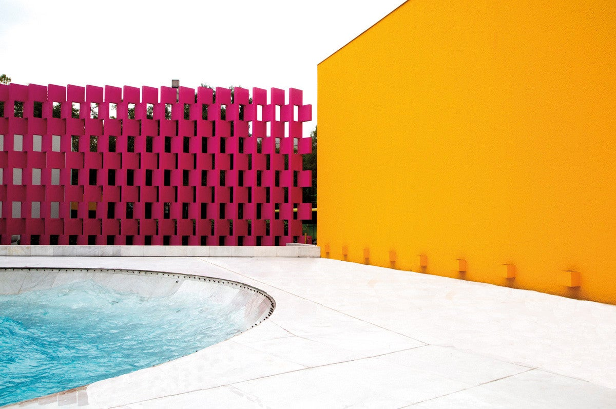 Blue and Pink and Yellow Exterior