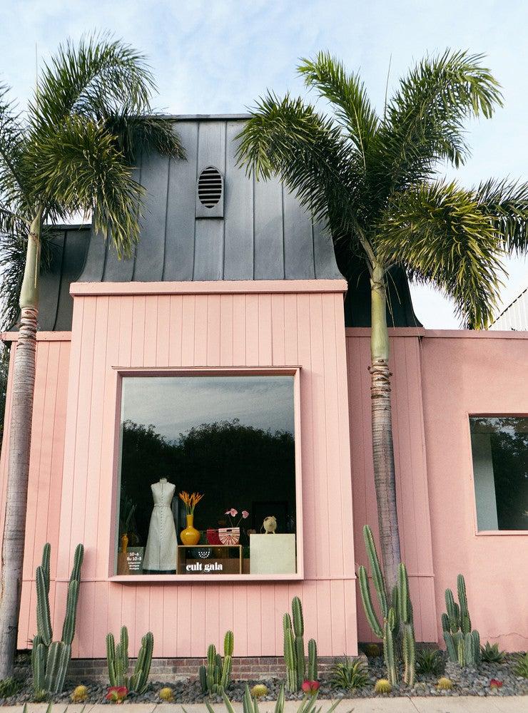 pink painted pop up shop cult gaia LA
