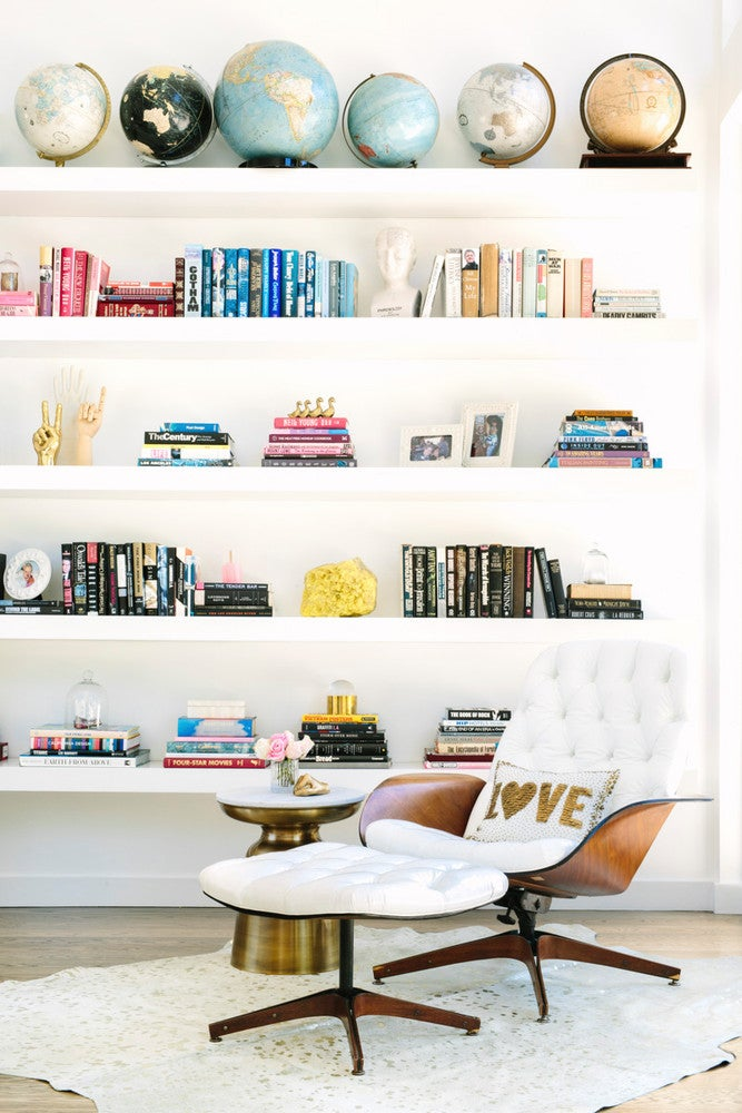 colorful curated bookshelf
