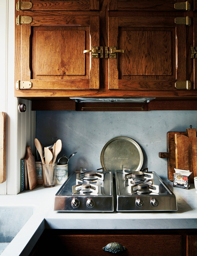 Blue and Brown and Silver and Wood Kitchen