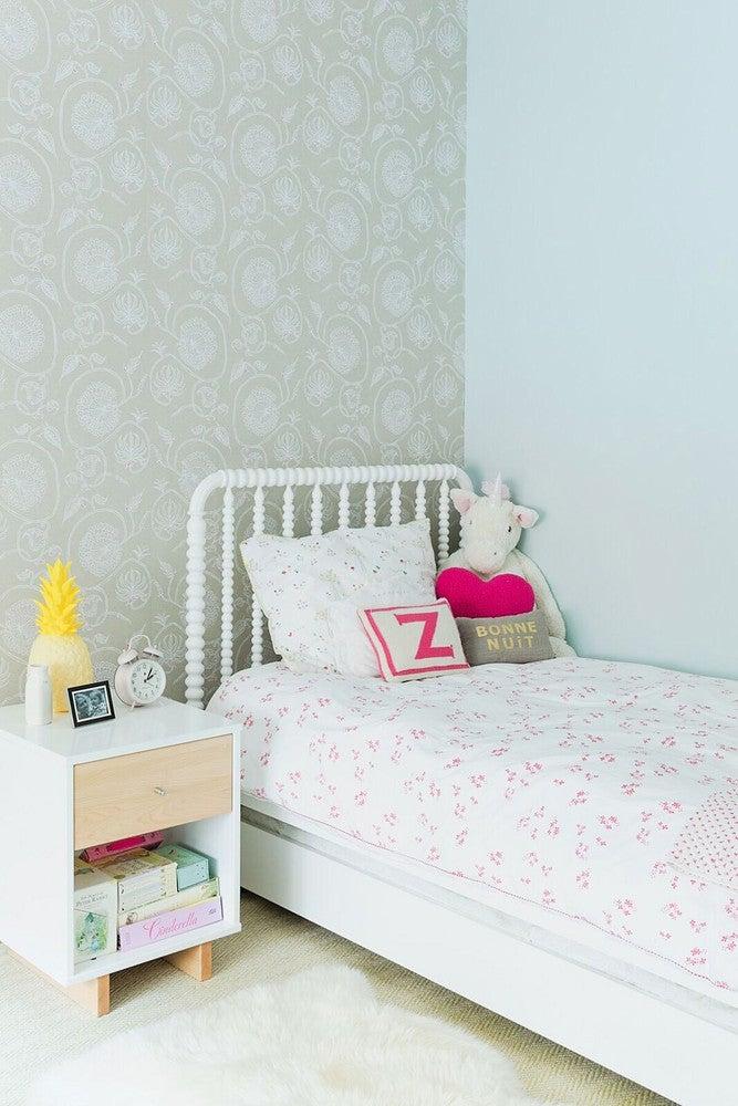 green wallpaper kids bedroom
