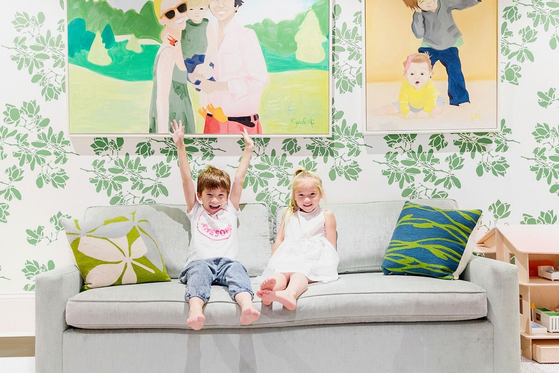 printed leaf wallpaper beige sofa