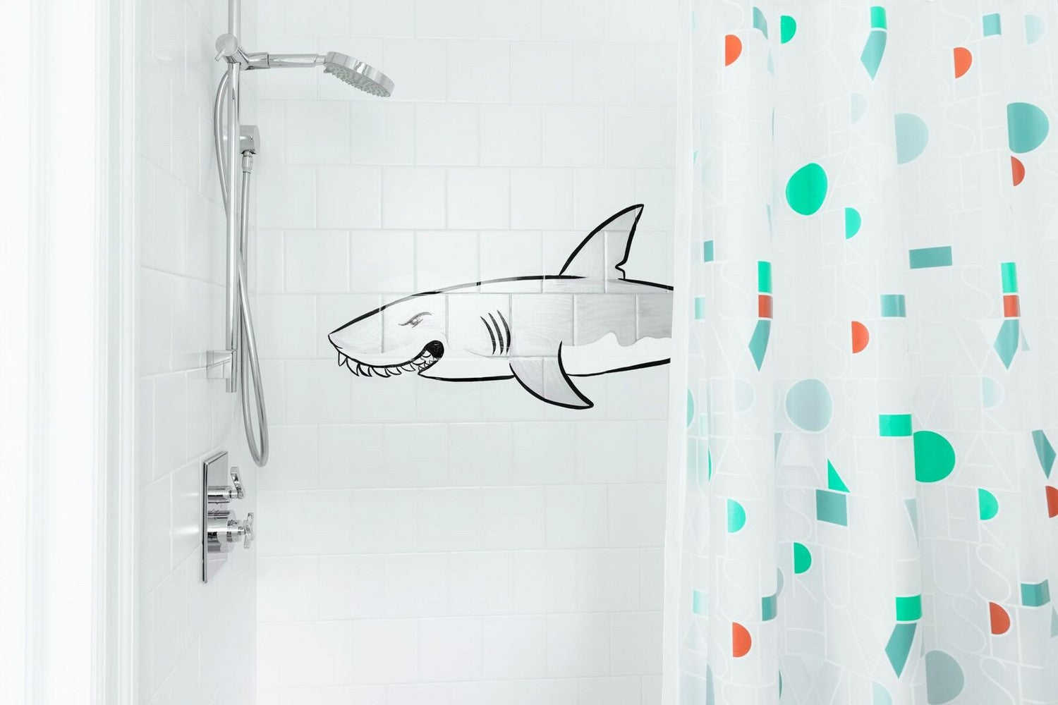 colorful shower curtain shark decal