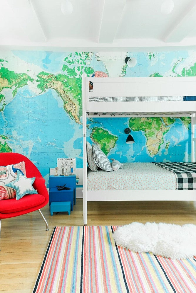 map wallpaper, red chair bunk beds