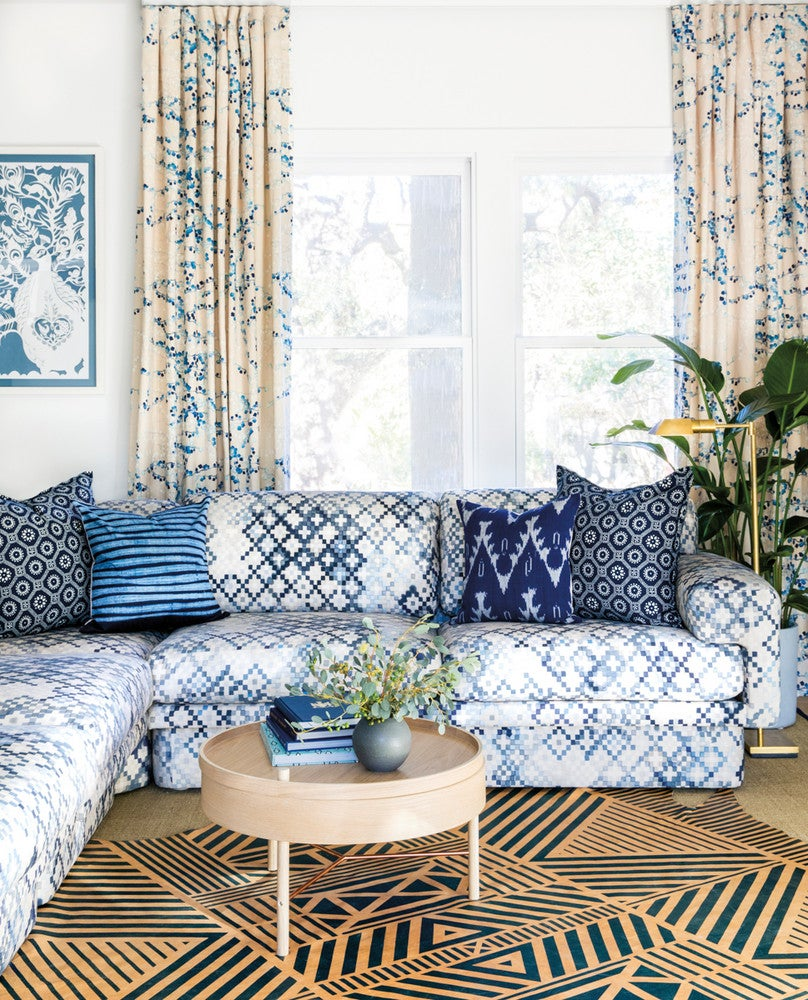 Blue and Taupe and White Living room