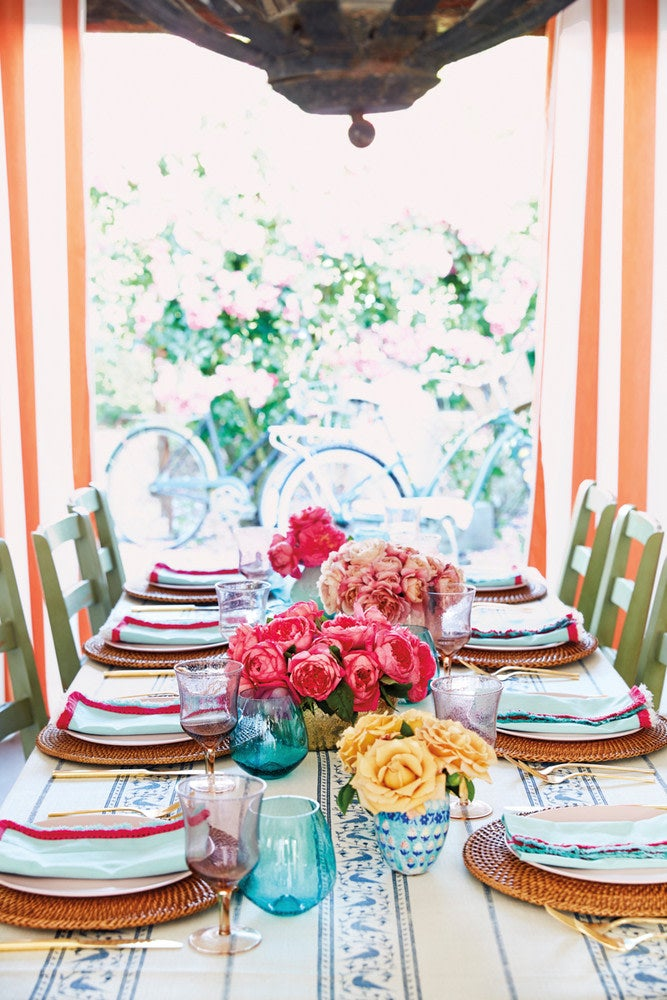 Blue and Pink and White and Yellow Table Setting