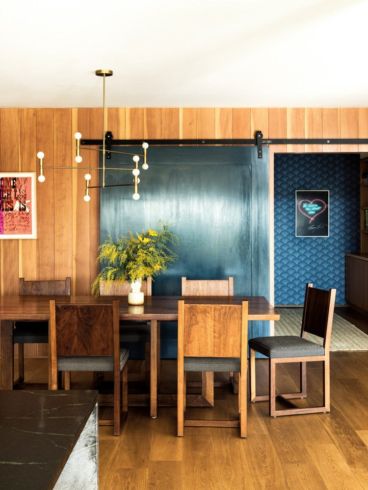 Black and Blue and Wood Dining room