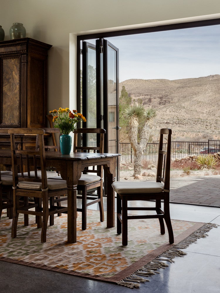 modern nevada home dining room desert views