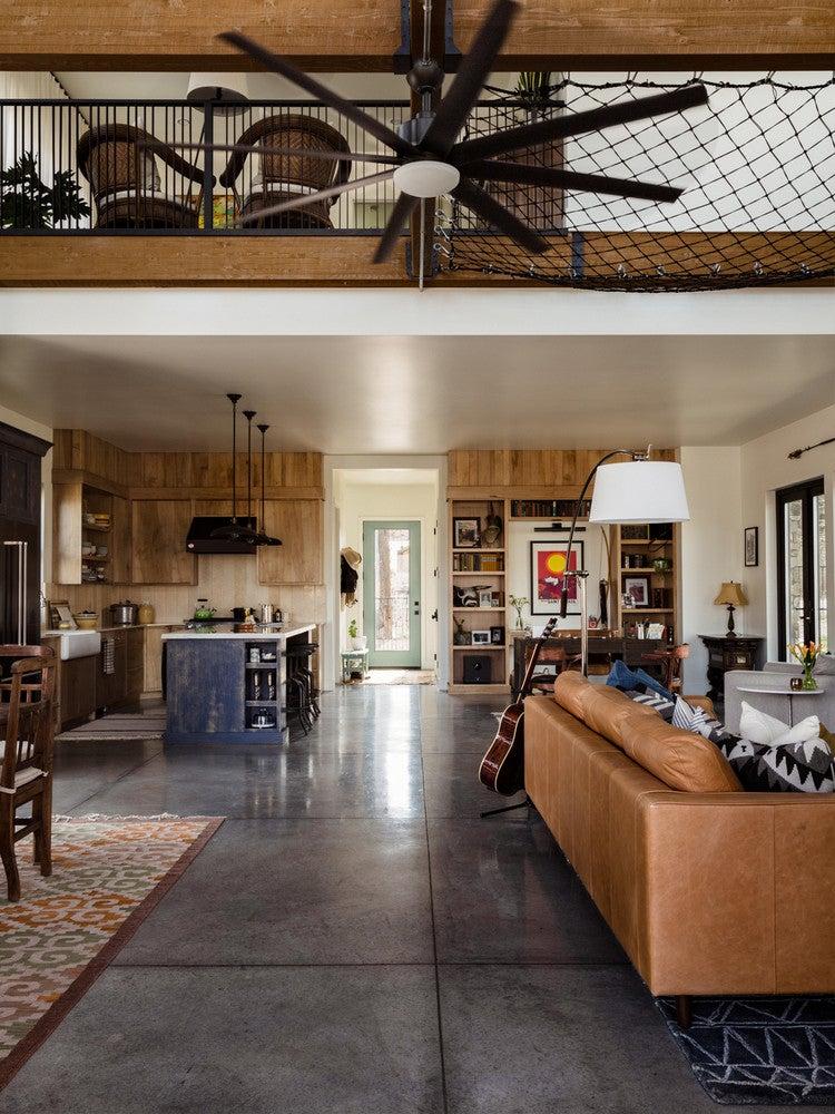 modern nevada home open living room