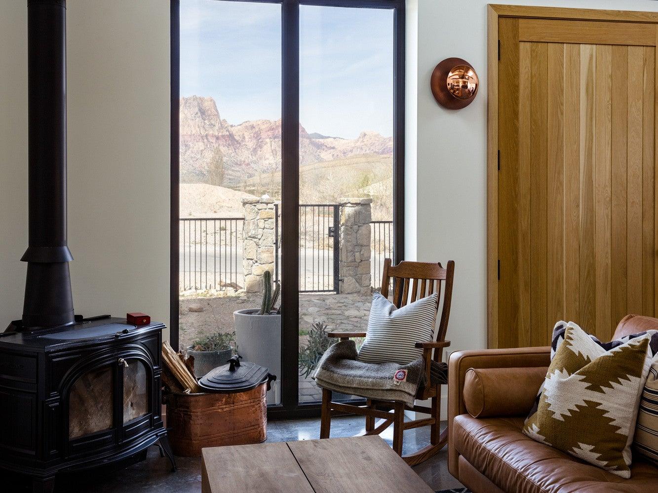 modern nevada home living room desert views