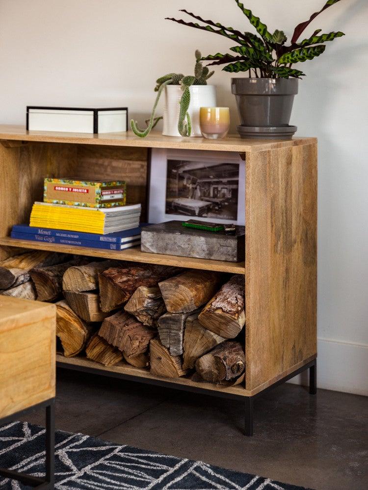 modern nevada home shelf firewood