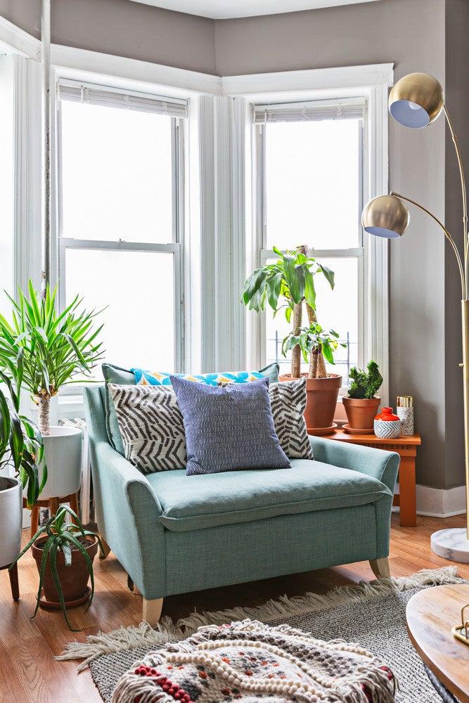 bay window with cozy armchair