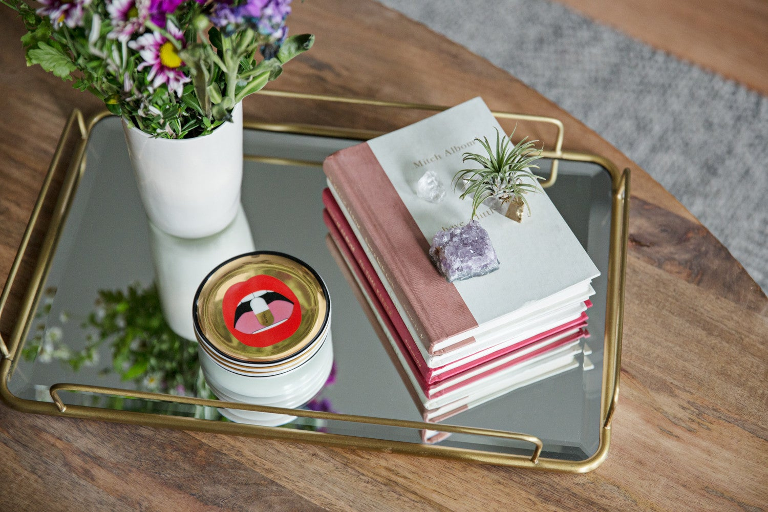 styled coffee table tray